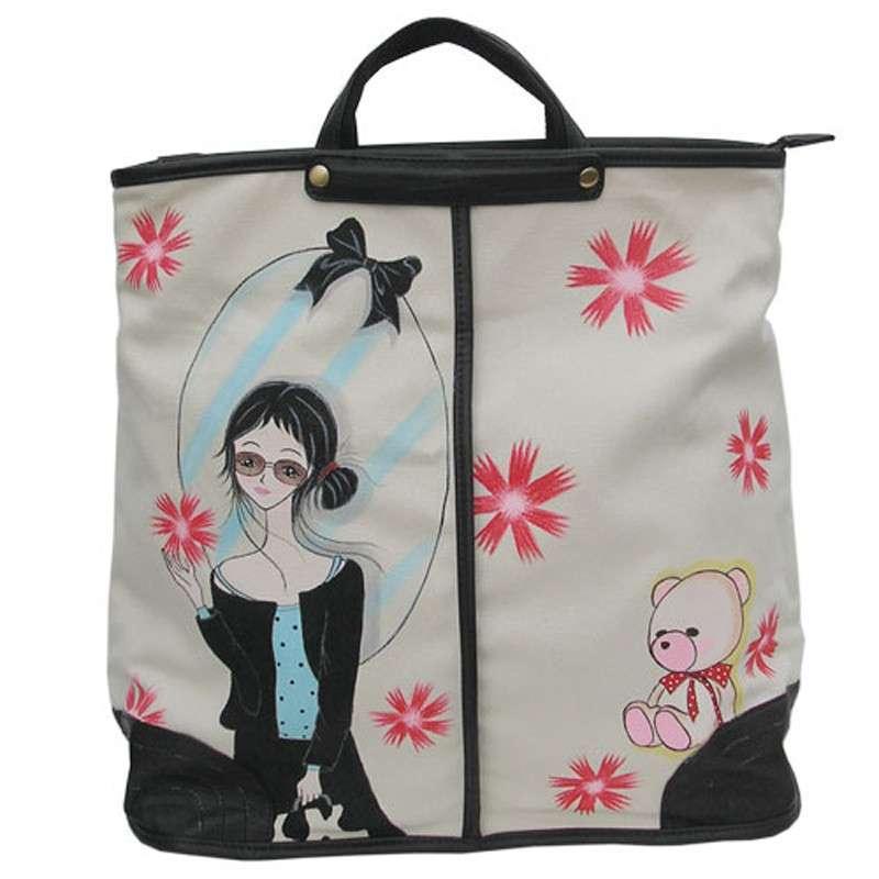 城市公主唯美韩国风个性创意手绘手提包f-g013
