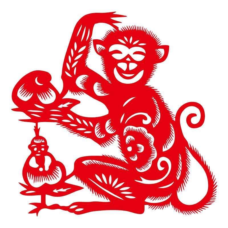 门贴春节马年福字贴装饰   猴年福字剪影   祚信剪纸作品