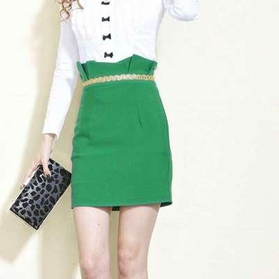 2014春季新款腰部立体压褶金属链修身包臀半身裙q803