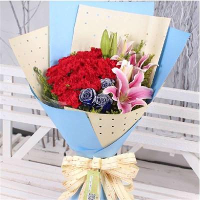 全国鲜花速递红康乃馨百合蓝玫瑰混搭花束
