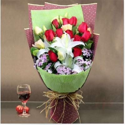 鲜花速递 红玫瑰百合精美花束
