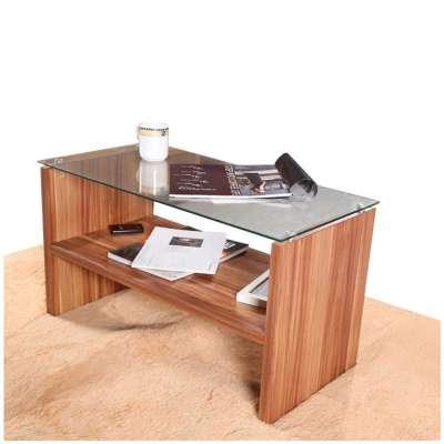 择木宜居 小户型客厅小茶几钢化玻璃收纳茶几 黑胡桃