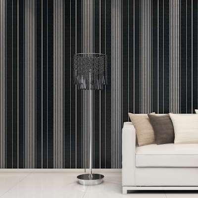 欧式田园电视背景墙纸壁纸卧室客厅无纺布房间竖条纹