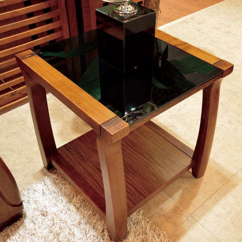 现代中欧美式乌金木色 简约玻璃实木小方桌子茶几角几8666 乌金木色