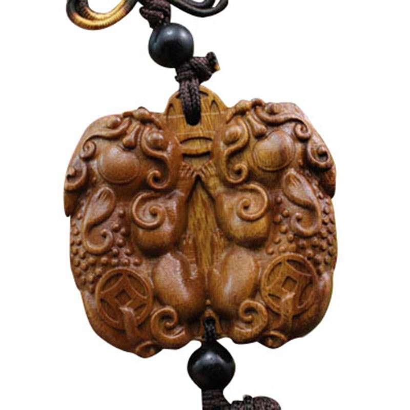 多吉米 花梨木雕刻 汽车挂件双貔貅 车挂件 挂饰 吊饰