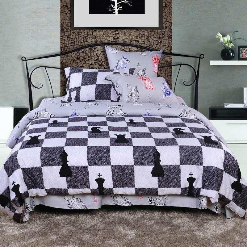 全棉黑白格子欧式四件套活性印花贡缎ab面两用床上