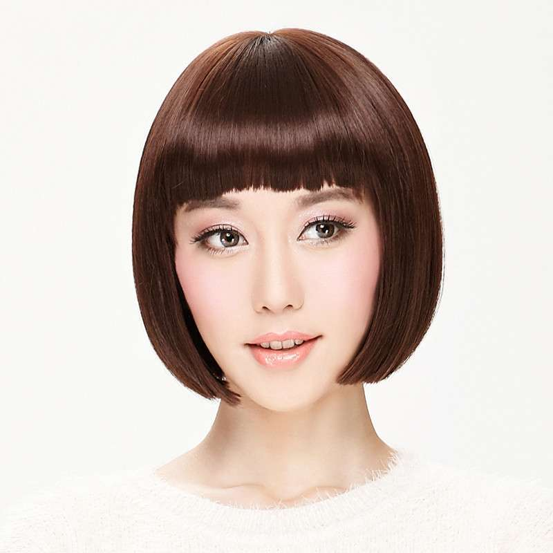 娇滴假发女短发短直发bobo头齐刘海时尚女生 短直发套 修脸 包邮图片