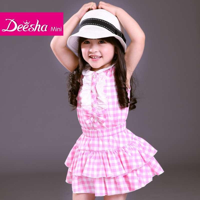 笛莎2014夏装新款女童装甜粉可爱蛋糕红格子短裙