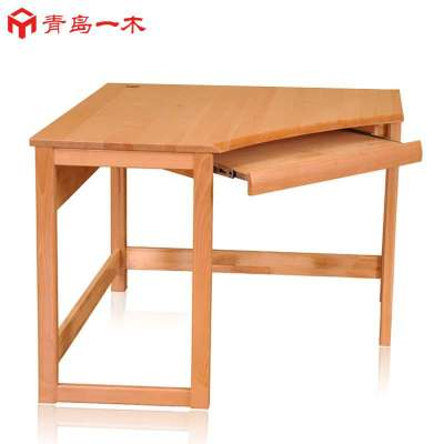 青岛一木家具 02拐角书桌电脑桌转角墙角书桌纯实木榉木正品包邮 原木