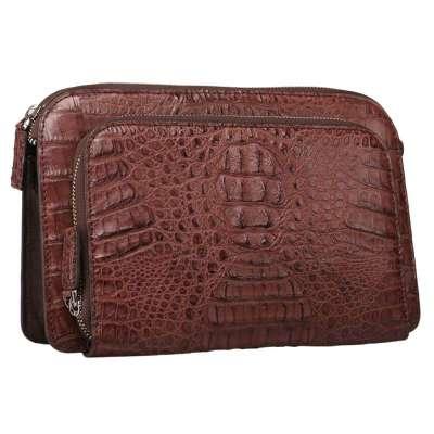 男士鳄鱼皮商务双拉链手包腕带手抓包黑色奢华钱包