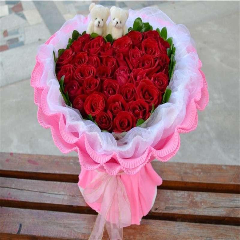 爱的印记 鲜花 33朵红玫瑰 心形 花束 报价 价