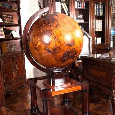 天屿 浮雕实木地球仪 古典家居装饰摆件商务乔迁开业礼品大厅办公室