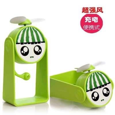 创意可充电迷你风扇 学生儿童便携小风扇 可爱卡通风扇 柠檬绿