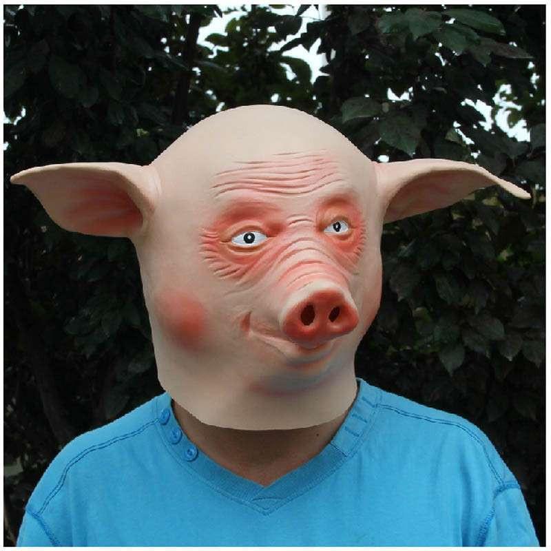 化装舞会 动物表演装饰 动物面具 猪八戒面具 环保乳胶 猪人头套