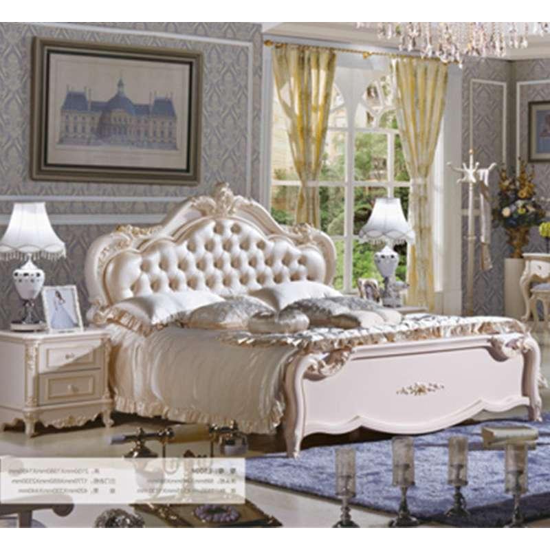 御品工匠 家具 欧式床双人床 真皮法式床 田园公主床 橡木实木床 纤皮