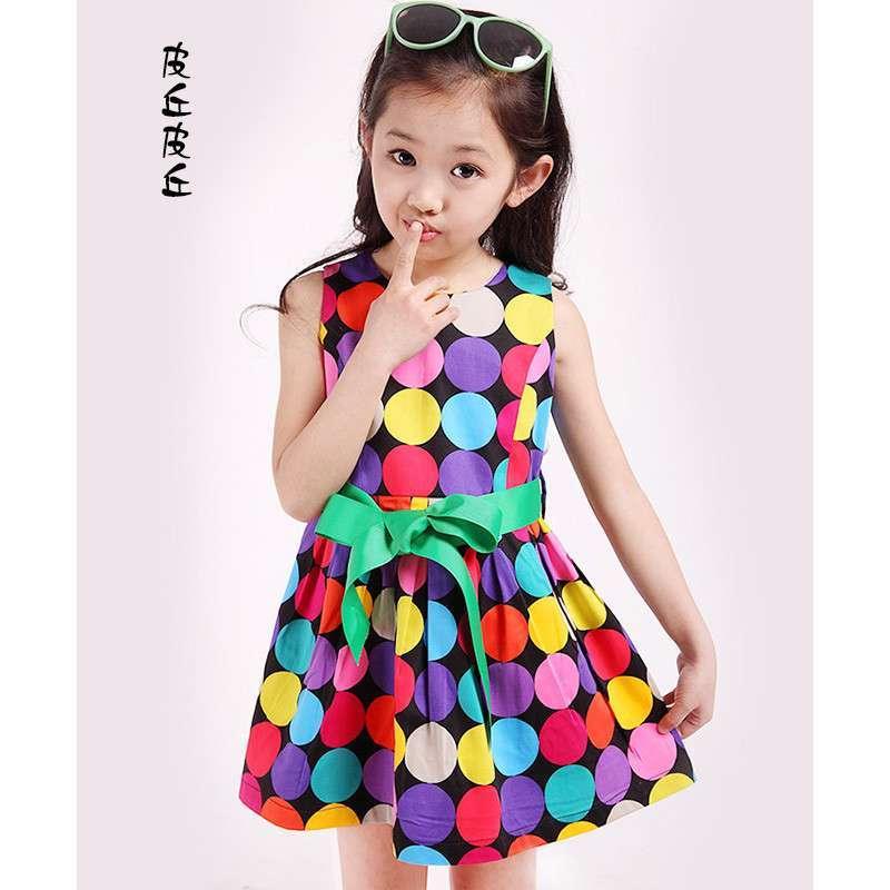 皮丘皮丘童装2014新款儿童连衣裙彩色圆点纯棉公主裙