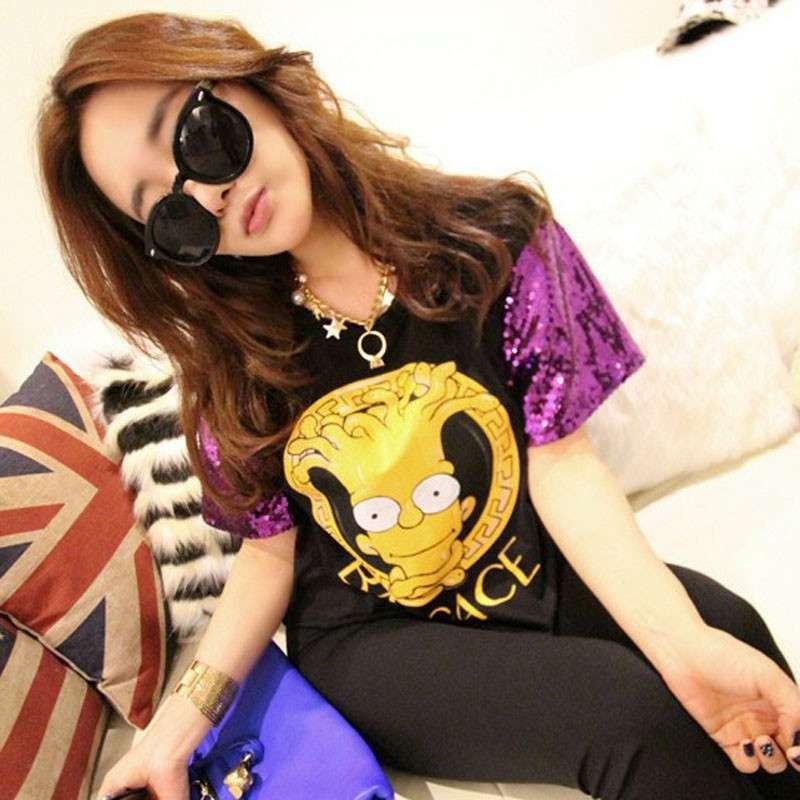 迪伦2014夏装韩版女装亮片拼接纯棉短袖可爱卡通字母