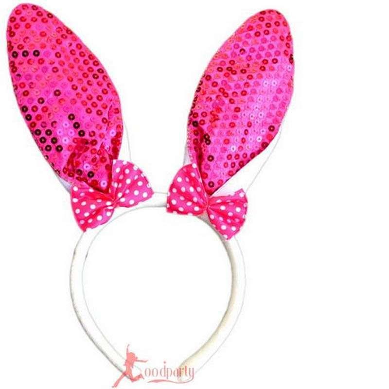 化妆舞会 动物头饰 道具 小兔子耳朵 头箍发箍 亮片兔子发卡 玫红