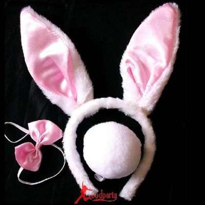 六一动物装扮 表演 儿童兔子耳朵头饰 发箍 彩色兔子高清图片