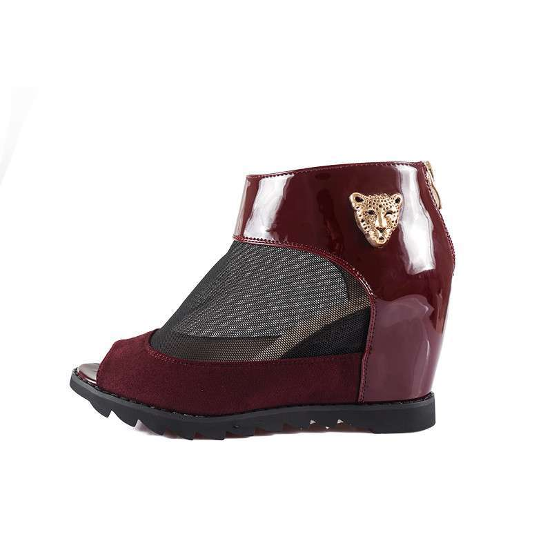 老北京布鞋夏季2014外套网纱坡跟鱼嘴毛领罗军绿凉鞋女新品图片