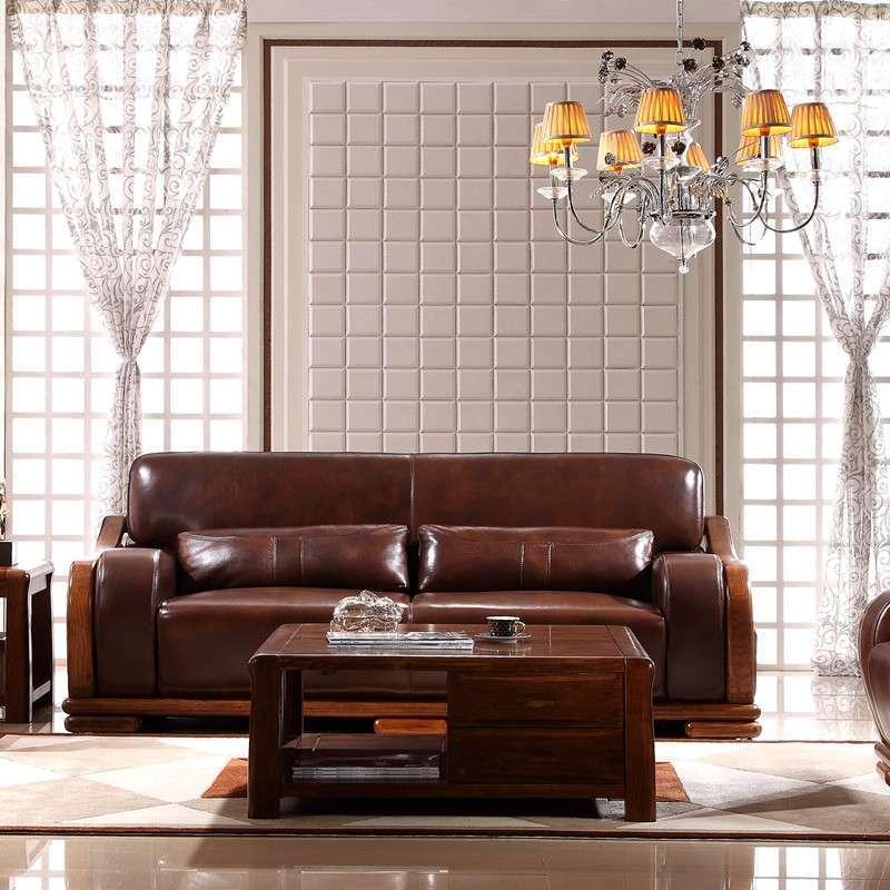 惠宜亚花梨全实木沙发真皮沙发简约中式风 常规组合