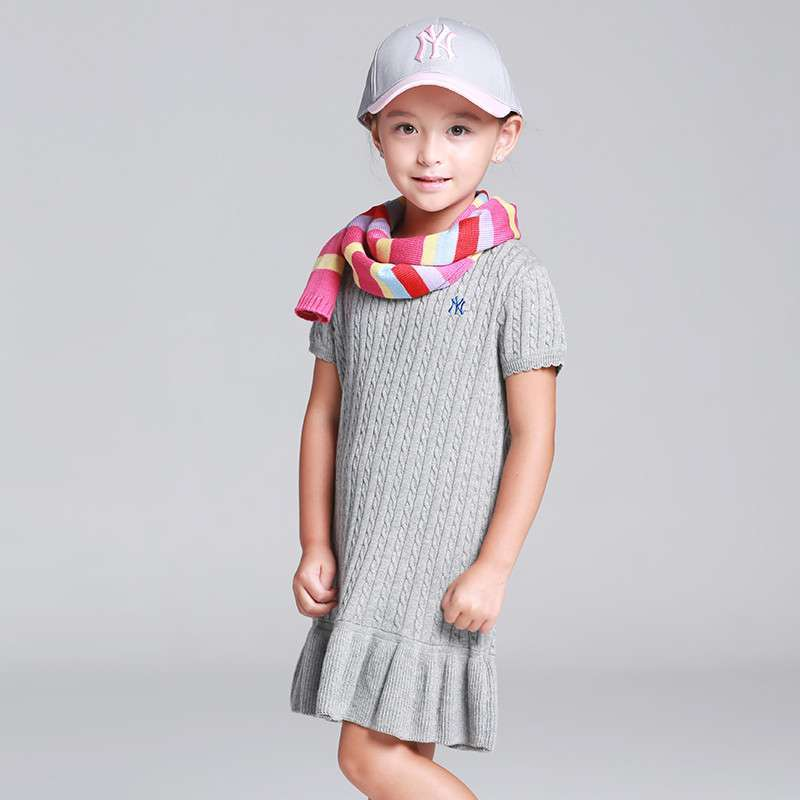 2013美国品牌mlb新款春秋女童装休闲编织连衣裙