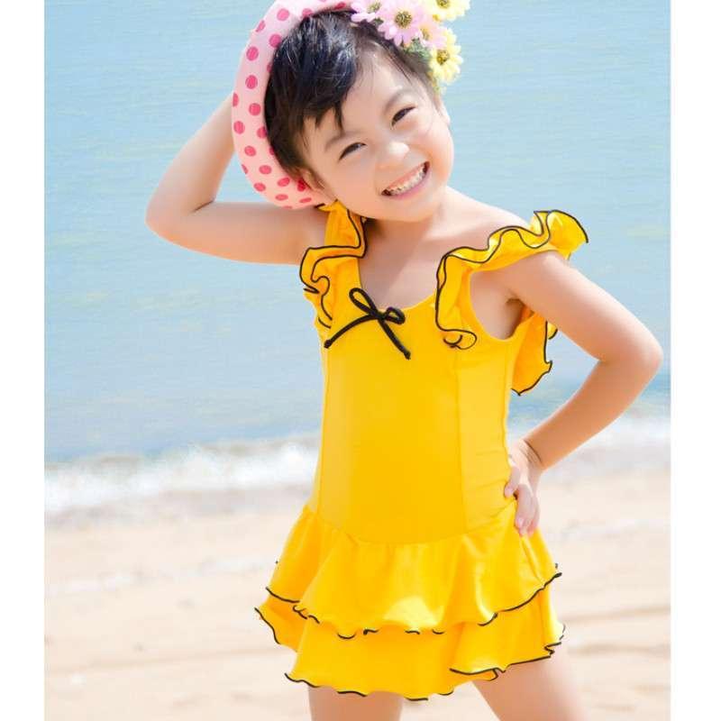 宜肤女孩泳衣装10-15岁可爱韩公主儿童女童中大童少女连体裙式游泳衣
