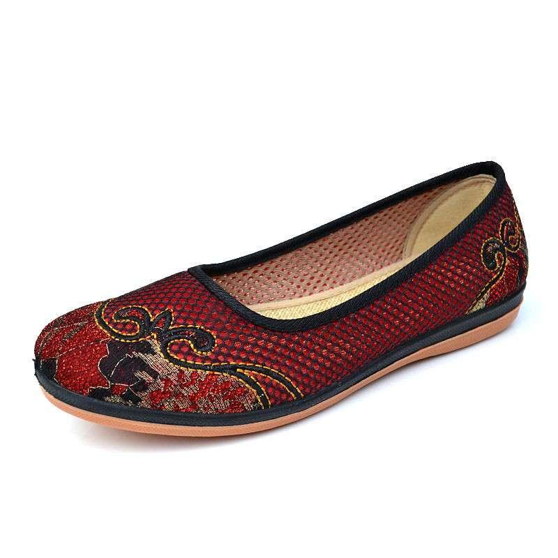 佳福老北京布鞋绣花女鞋 春夏款软底舒适休闲中老年妈妈鞋 绣花鞋民族