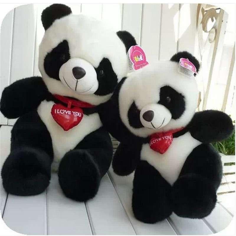 爱心可爱大熊猫公仔布娃娃毛绒玩具钟汉良黑花熊猫
