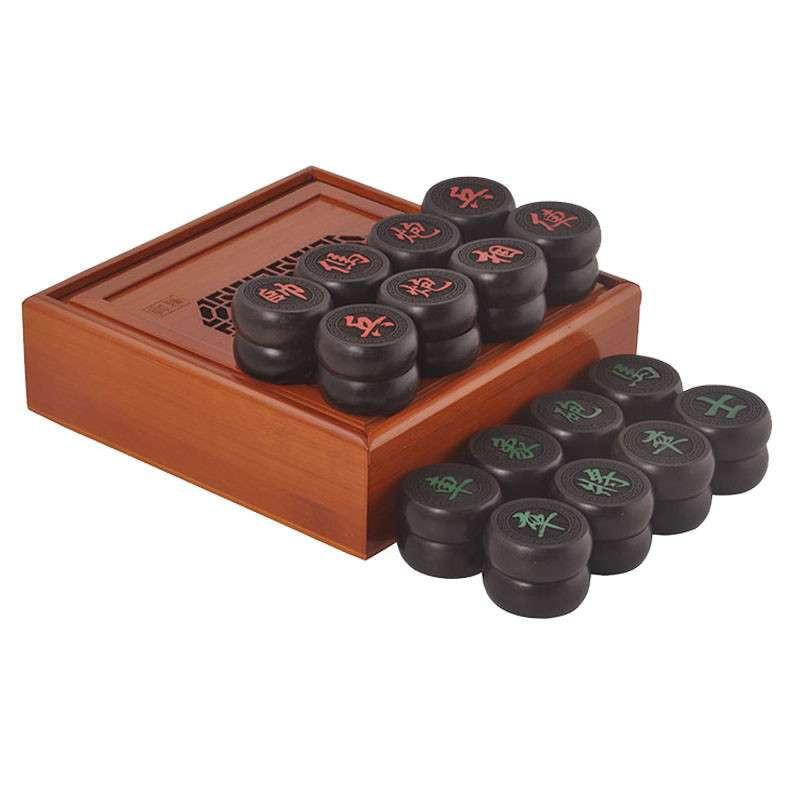 0阳雕乌木象棋配品牌楠竹棋盒 中国红木象棋套装 送仿皮棋盘