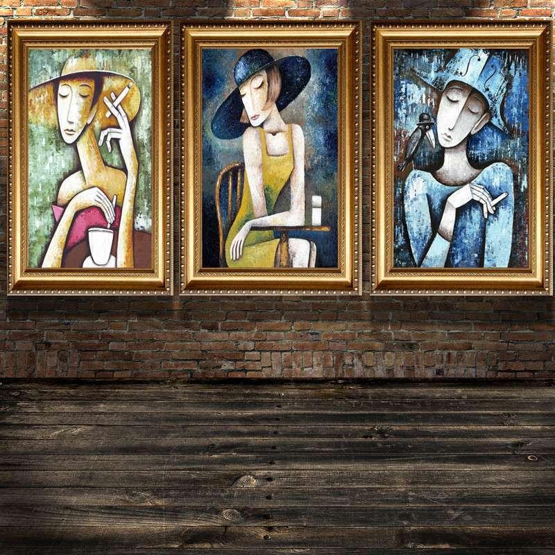 等爱的女人 现代抽象油画 仿手绘 人物抽象画装饰画无框画卧室玄关