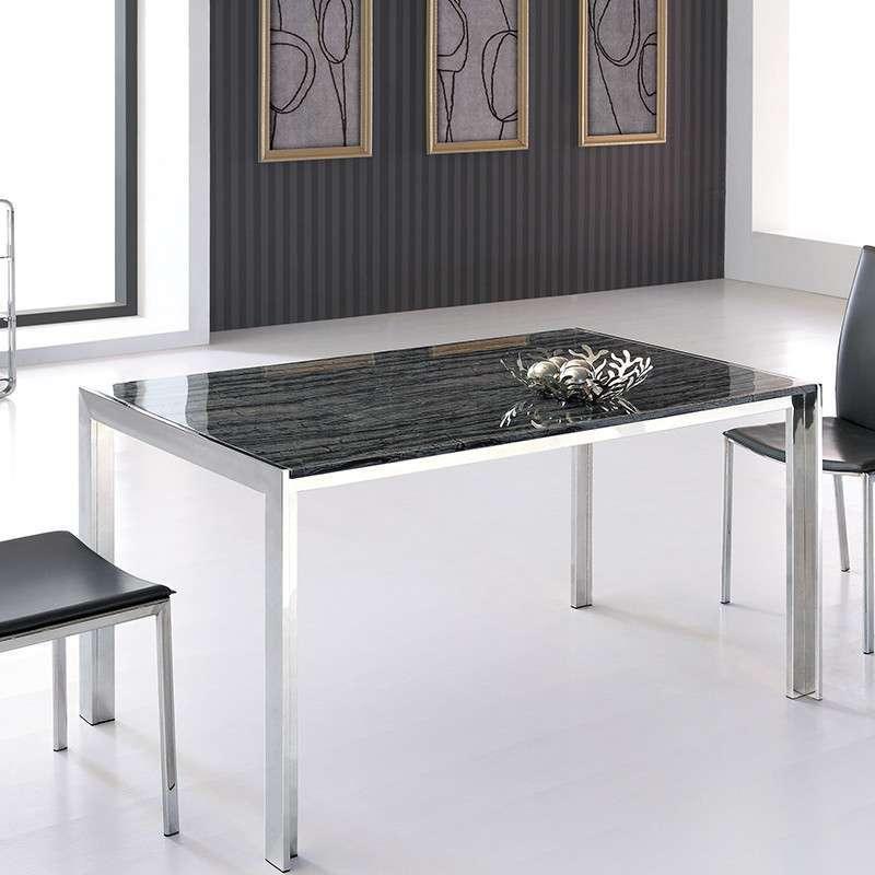 库米 大理石餐桌小户型小方桌 长方形饭桌 组合特价1003 黑色