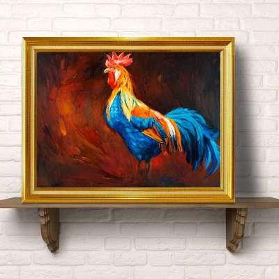 欧式动物油画 公鸡装饰画 玄关走廊卧室壁画挂画有框画 40*60 yhk133
