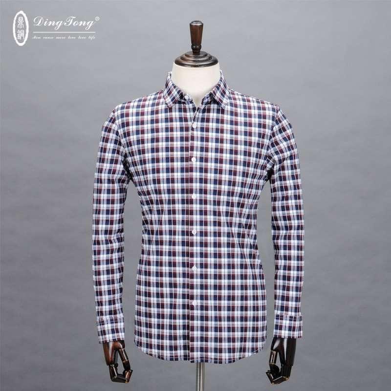 商务休闲修身型长袖衬衫纯棉方领天蓝色经典格纹长袖衬衣 红白格子 17