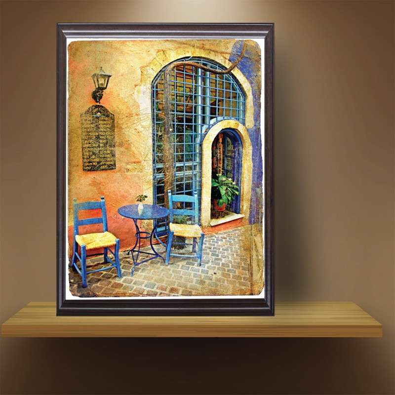 欧式墙画复古装饰画客厅地中海风景挂画组合乡村卧室餐厅建筑壁画40*