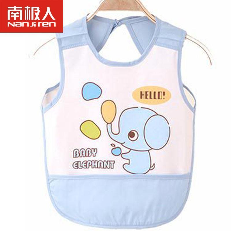 南极人童装2014新品婴儿宝宝可爱卡通口水巾儿童防水围嘴饭兜 浅蓝