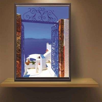 欧式墙画复古装饰画客厅地中海风景挂画组合乡村卧室