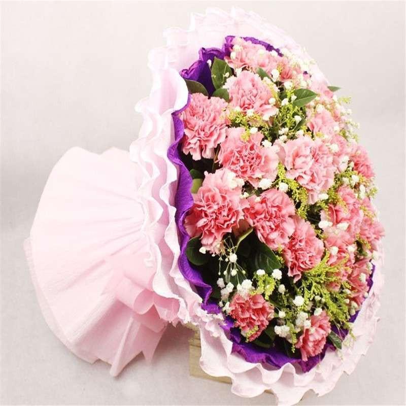 19朵粉色康乃馨鲜花精美花束【报价