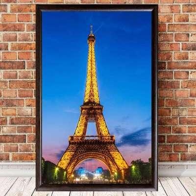 巴黎埃菲尔铁塔油画建筑装饰画简约客厅有框画餐厅壁墙画酒吧挂画40*