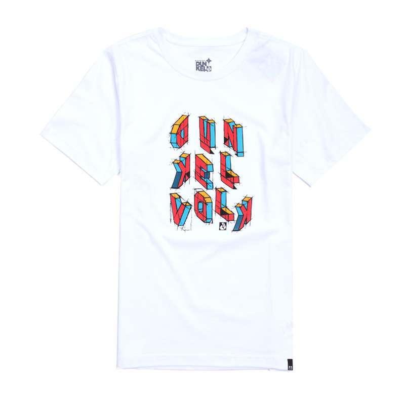 达克沃 彩色立体原创手绘logo潮牌男t恤 流行时尚纯棉短袖 包邮 白色
