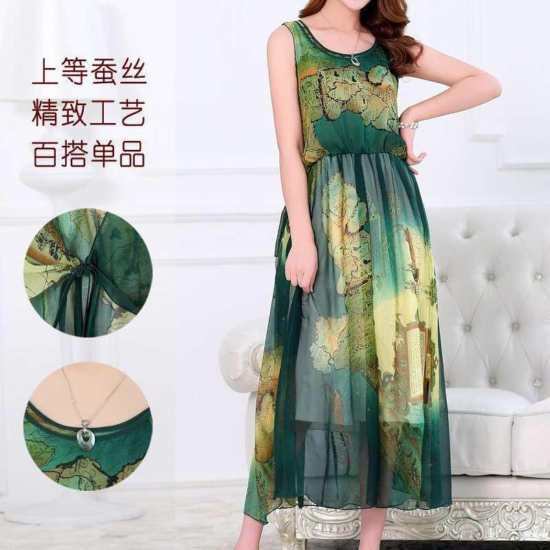 2014韓版夏季新款中老年連衣裙長款真絲圖片