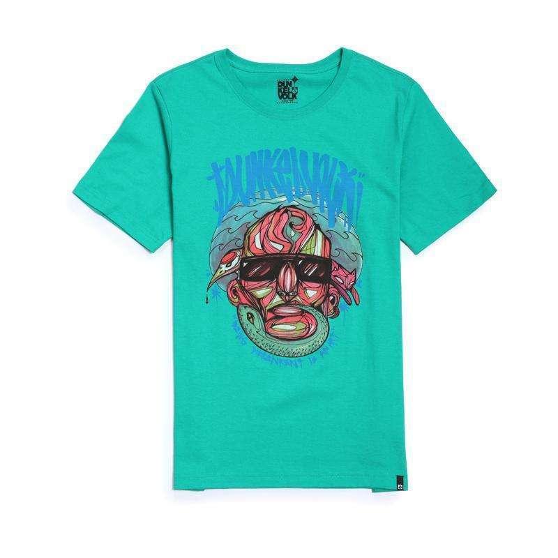 达克沃 原创手绘人物头像个性涂鸦原创艺术 圆领短袖潮牌t恤 浅绿色 1