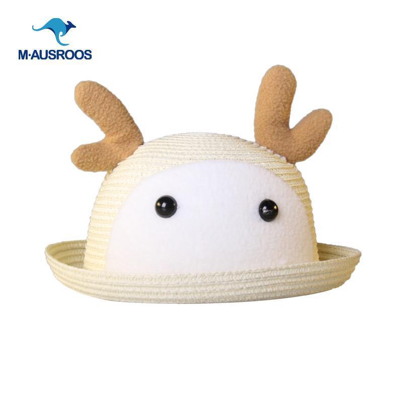 超萌卡通动物韩国可爱小鹿兔宝宝遮阳草帽子小孩女儿童帽春夏 c米色