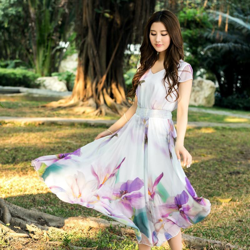 2014夏季新款韩版女装甜美连衣裙短袖印花