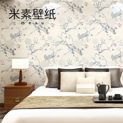 t米素新中式壁纸 无纺布墙纸 卧室书房客厅背景墙壁纸
