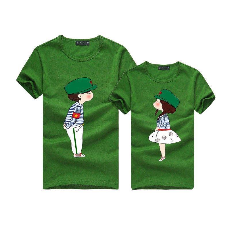 麦韩亲子装 2014夏装潮款一家三口全家装时尚卡通版红军t恤 绿色上衣