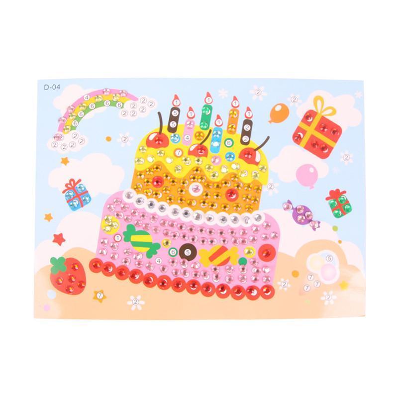 大贸商 eva贴画钻石画 儿童创意diy手工制作水晶马赛克贴画 生日蛋糕