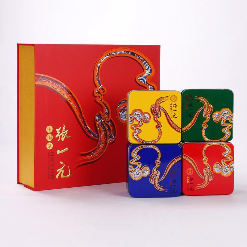 张一元花茶礼盒 四色铁盒礼品茶 吉祥如意茶礼 福建茉莉花茶叶图片