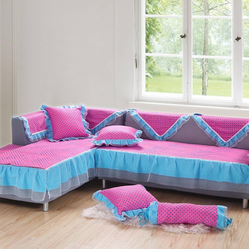 欧莱缦蕾丝全棉沙发垫坐垫欧式提花印花纱裙边沙发套