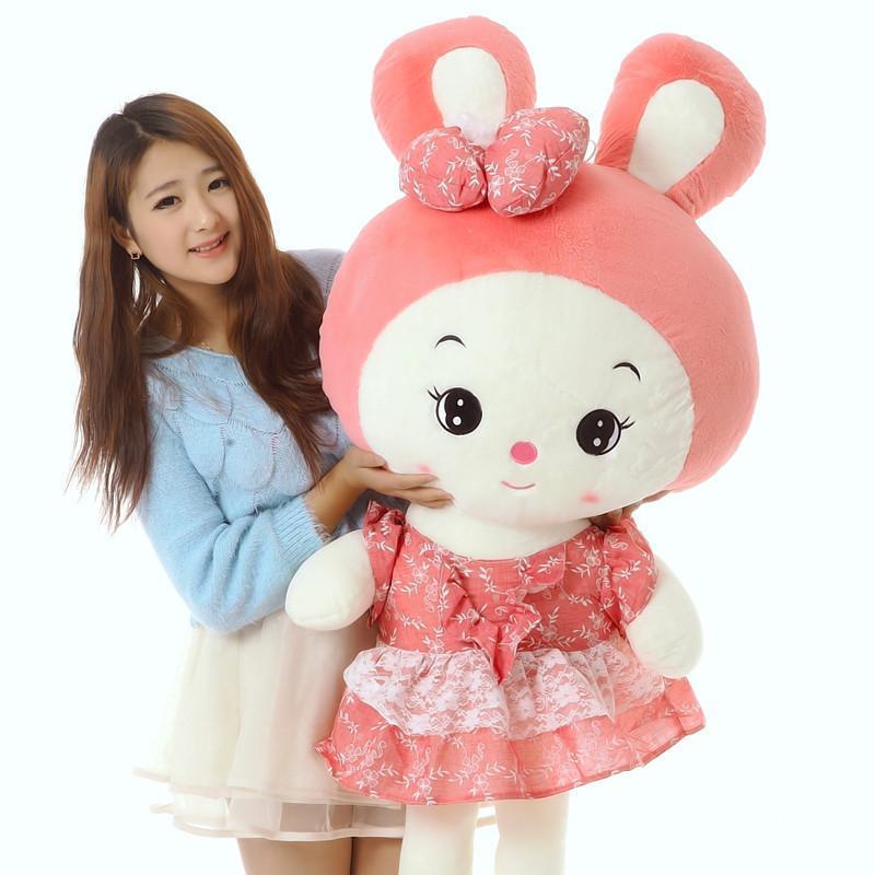 【yiru玩具】1米粉色可爱大号兔子小白兔公仔毛绒